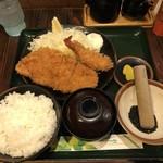 とんかつ こころ - エビ・ロースかつ定食  1,060円