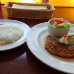 Mollete Grill - ◆ハンバーグとライス。 ライスは普通。