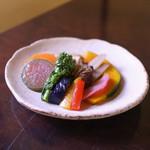 手打ち蕎麦 かね井 - 季節野菜の揚げびたし☆