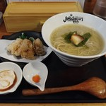 "Ramensutairujankusutori - 牡蠣と蛤の濁り吟醸""翡翠(ひすい)""~牡蠣の天ぷらと白子のタレを添えて~"