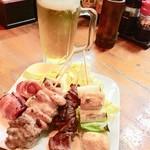 酒処 さくら - トマトベーコン、豚バラ、牛ハツ、ムネ。