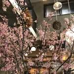 スケロク ダイナー - 入ると桜の花が沢山活けてありました