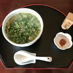お食事処 つくし - 黒七味、練り梅お好みで入れいただきます。