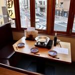 水炊き吟醸もつ鍋 由乃 - オシャレな窓際席