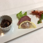 ステーキハウス スエ - 煮蛸、タン、小海老のオードブル 2,500円