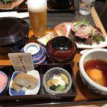 かどや - 宇和島づくし鯛めし膳と道後ビール