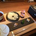祇園NITI - 生おかき+涼炉(手火鉢)2種の塩と3種ディップ添え