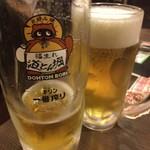 道とん堀 - 生ビール大、中