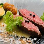 炭Kappo hirac - なにわ黒牛の炙り 色々な調味料で