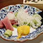 Sakagawa - お刺身の5点盛り 鮪 鯛 ハマチ イカ 雲丹
