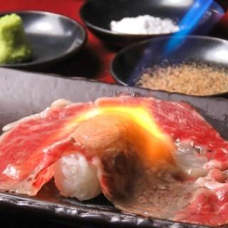 九州産黒毛和牛大ネタ肉寿司!!!