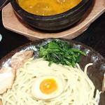 竹本商店☆つけ麺開拓舎 - 伊勢海老つけ麺・ぴり辛(並) ― 濃厚&激熱スープ。並盛にはレモンなしでした