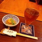 山女魚 - お通し&ウーロン茶