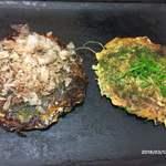 つる家 - 豚玉大&すじねぎ焼(1500円)