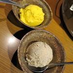 焼肉屋かねちゃん - カボチャジェラート_330円と、ほうじ茶ジェラート_280円