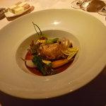 オーベルジュ ド プリマヴェーラ - 前菜:浅間鶏卵のフライ 春野菜添え 生ハムのジュで。お野菜美味しかった!!