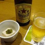 82508402 - 先付け: 胡麻豆冨のオリーブ塩昆布掛け、ビール