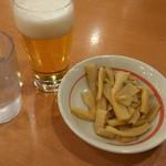 幸楽苑 - ホントに一口ビールとメンマ