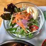 アリクイ食堂 - 野菜サラダ ドレッシングではなくマヨネーズなのがこの店らしい素朴な感じ。