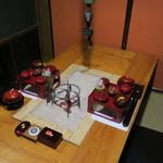 鶴我 - 祝い膳(会津旬菜):自家製なますのあんぽ柿添え ヤーコンのきんぴら むかごの麹味噌和え 棒鱈煮 鰊の山椒漬け