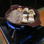 鶴我 - 桜カルビ鍋 溶き卵ですき焼き風に1