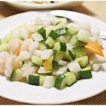 晴々飯店 - 海老ときゅうりと山芋のさっぱり炒め