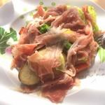 82538360 - 【'18.3】季節野菜のグリル 生ハム添え。1200円。生ハムもお野菜も良いツマミ♪