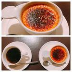 82539510 - デザートのクレームブリュレとコーヒー。
