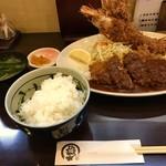 とんかつひろ喜 - 特選ヒレとんかつ&海老フライ定食