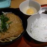 麺家 京橋内回り店 - 卵かけご飯とうどんのセット きつねトッピング