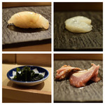 SUSHI TOKYO TEN、 - 真鯛桜〆(左上)水蛸(右上)生ワカメ(左下)気仙沼初鰹玉葱醤油(右下)