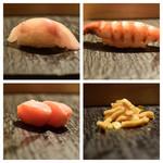 SUSHI TOKYO TEN、 - 千葉ほうぼう昆布〆(左上)車海老(右上)鱈子山葵漬(左下)切干大根(右下)