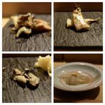 SUSHI TOKYO TEN、 - 出汁で炊いた鮑(左上)ししゃも雄(右上)牡蠣太白胡麻油漬(左下)白魚(右下)