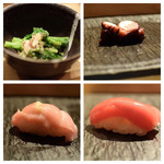 SUSHI TOKYO TEN、 - 菜の花お浸し(左上)真蛸(右上)本鮪中トロ(左下)本鮪赤身(右下)