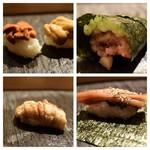 SUSHI TOKYO TEN、 - 紫雲丹、馬糞雲丹(左上)ネギトロ(右上)穴子(左下)かんぴょう(右下)