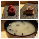 SUSHI TOKYO TEN、 - 苺(左上)玉子焼(右上)シジミ味噌汁(下)