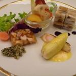 ヴェル・ボワ - フォアグラとリードボーのゼリー寄せ・アナゴと海老芋のミルフィーユ・蟹のルーロー