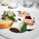 FURUYA augastronome - ハンガリー産フォアグラのテリーヌ 北海道産ホタテのマリネ くるみの入ったサラダ