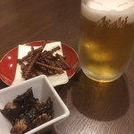 82603055 - 生ビールとうなぎのしっぽ(150円)