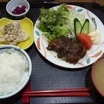 いわて門崎丑牧場 - 煮込みステーキ定食1000円+ポテトサラダ200円
