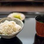 日本料理 晴山 - 2018.3 揚げジャコと梅肉と刻んだ菜の花の炊き込みご飯