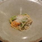 リストランテ カノフィーロ - フランス産仔羊のラグーと空豆のソース キタッラ