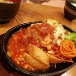 星さん家のハンバーグ - トマトとチーズの煮込みハンバーグ定食 1200円税抜き