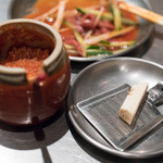 焼ジビエ 罠 - 2018.3 焼ジビエの味変アイテムの味噌とホースラディッシュ