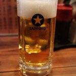 鳥善 - 生ビール(500円)は一口飲んだ後