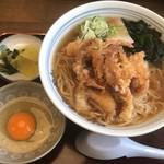 そば処 すぎ - 特製ラーメン(げそ天)900円+卵50円