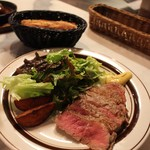 Bistro WARAKU - ステーキランチ       旨味のある お肉でした