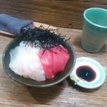 Homemade Ramen 麦苗 - 実家の魚飯       本マグロと昆布締めのヒラメ
