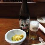 樽平 - 料理写真:飛騨バージョン瓶ビール(中瓶600円)とつき出し