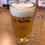 いちげん - 生ビール中ジョッキ 529円。